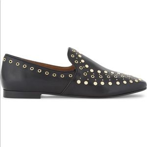 Sandro Bary Studded Leather Loafers in Black Noir